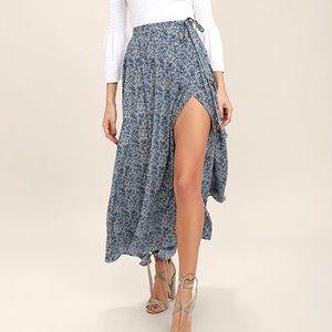Lulu's Navy Blue Print Wrap Maxi Skirt NWT